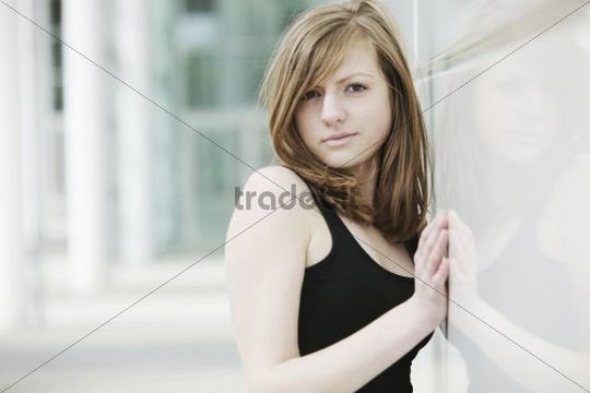 Sensual portrait of a young long-haired woman