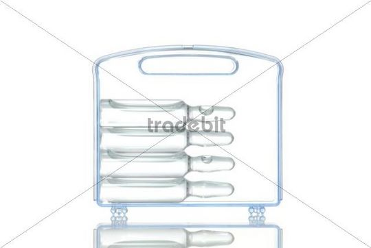 Plastic case with vaccination vials, symbol image for doping