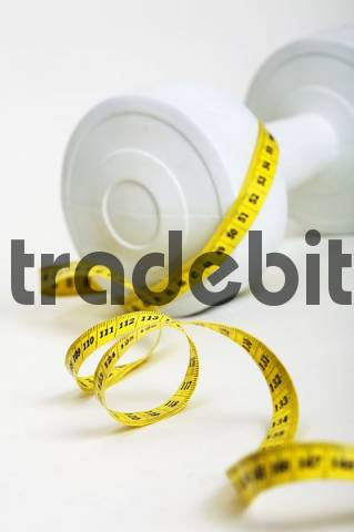 measuring tape with a barbell