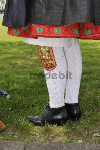 Schwalm traditional dress shoes and decorated stockings, Salatkirmes, Salad Fair, Ziegenhain, Schwalmstadt, Schwalm-Eder-Region, Upper Hesse, Hesse, Germany, Europe