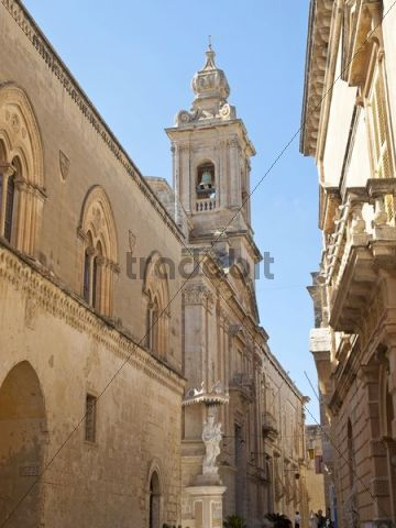 Alley, bell tower, Mdina, Malta island, Republic of Malta, Europe