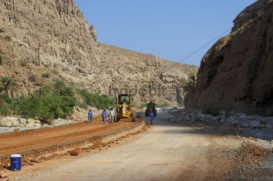 Road construction site, Wadi Tiwi, Oman, Middle East