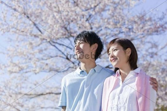 Young couple enjoying cherry blossom