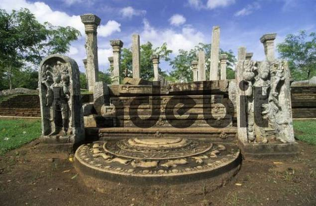 moon stone at Mahasen palace in Anuradhapura, Unesco World Heritage Site, Sri Lanka