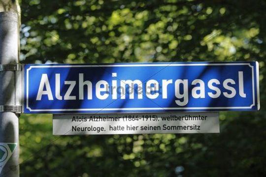Street name Alzheimergassl in honor of Alois Alzheimer, Wessling, Fuenfseenland or Five Lakes region, Upper Bavaria, Bavaria, Germany, Europe