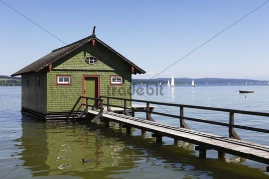 Boathouse, Ammersee lake, Schondorf, Fuenfseenland or Five Lakes region, Upper Bavaria, Bavaria, Germany, Europe
