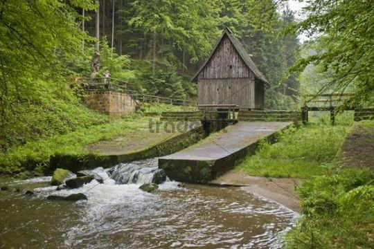 Niedere Schleuse lock, Kirnitzschtal valley, Saxon Switzerland, Elbsandsteingebirge Elbe Sandstone Mountains, Saxony, Germany, Europe