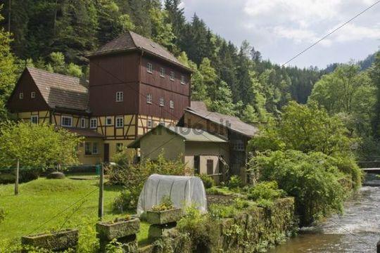 Buschmuehle mill, Kirnitzschtal valley, Saxon Switzerland, Elbsandsteingebirge Elbe Sandstone Mountains, Saxony, Germany, Europe