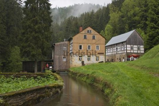 Niedermuehle mill, Kirnitzschtal valley, Saxon Switzerland, Elbsandsteingebirge Elbe Sandstone Mountains, Saxony, Germany, Europe