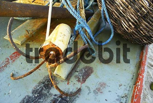 Simple anchor and ropa on a traditional fishing boat Jangada, Iguape near Fortaleza, Ceara, Brazil