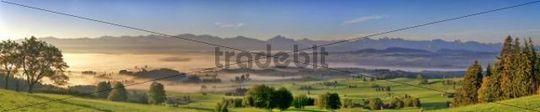 Auerberg Mountain, view towards Fuessen, Bavaria, Germany, Europe