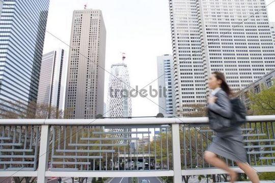 Running businesswoman