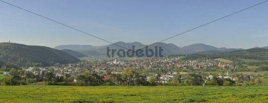 View of Berndorf, Kremesberg mountain, Triestingtal valley, Lower Austria, Europe