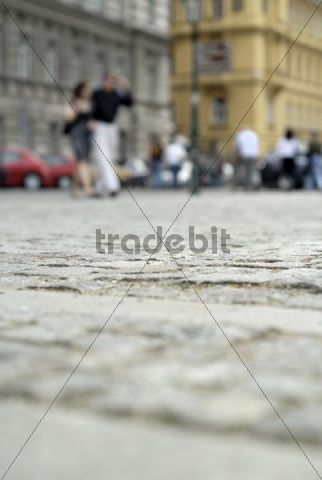Cobbled streets and pedestrians, Prague, Czech Republic, Europe