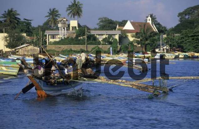 old Oruvas boat coming into Negombo harbor, Sri Lanka