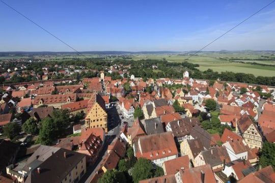 View from the tower of the Daniel or St.-Georgs-Kirche church to the west, Noerdlingen, Swabia, Bavaria, Germany, Europe