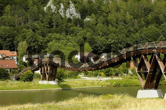 The longest timber bridge of Europe over the Main Danube channel with Essing in the Altmuehltal in Bavaria