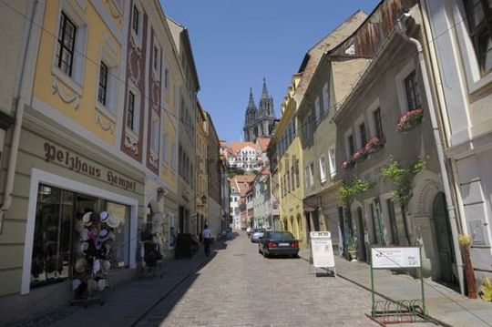 View from the Burgstrasse street on the cathedral in Meissen, Saxony, Germany, Europe