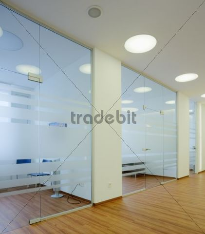 Interior view of a newly established dental practice, doors to the waiting rooms, Germany, Europe