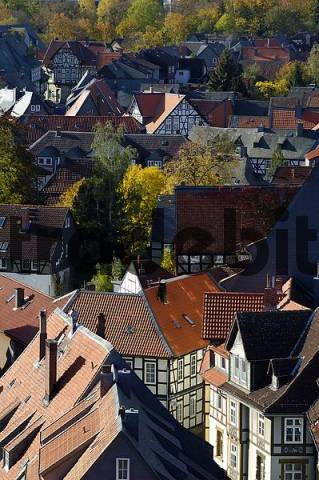 UNESCCO World Heritage Site view over picturesque old town from tower of Marktkirche Goslar Lower Saxony Germany