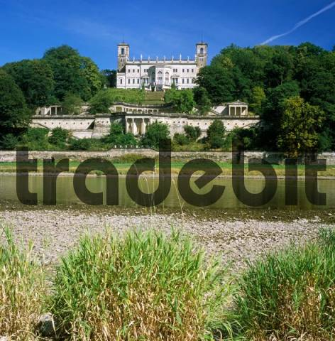 Albrechtsberg castle upon the river Elbe Dresden Saxonia Germany now congress center built 1850 to 1854 by Adolf Lohse after the role model of Villa Medici