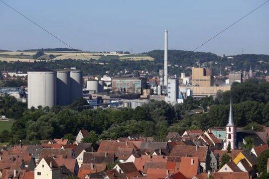 Suedzucker sugar factory in Ochsenfurt, in front Frickenhausen am Main, Mainfranken, Lower Franconia, Franconia, Bavaria, Germany, Europe