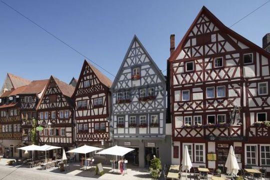 Fachwerkhäuser in der Hauptstraße, Ochsenfurt, Mainfranken, Unterfranken, Franken, Bayern, Deutschland, Europa