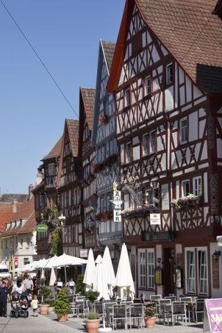 Half-timbered houses on main street, Ochsenfurt, Mainfranken, Lower Franconia, Franconia, Bavaria, Germany, Europe