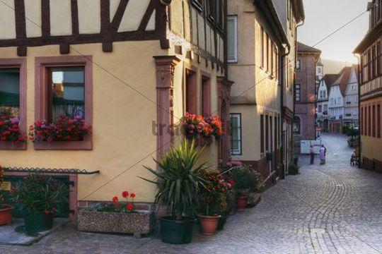 Grosse Kirchgasse lane, Lohr am Main, Mainfranken, Lower Franconia, Franconia, Bavaria, Germany, Europe