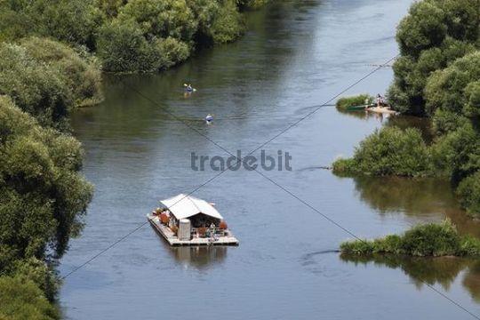 Raft, Old Main River, Nordheim am Main, Mainschleife, loop in the Main River, Mainfranken, Lower Franconia, Franconia, Bavaria, Germany, Europe