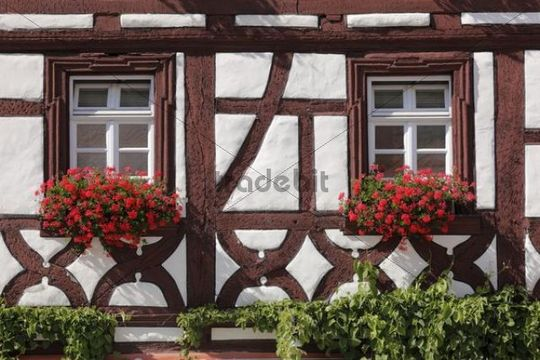 Half-timbered hotel Behringer, Volkach, Mainfranken, Lower Franconia, Franconia, Bavaria, Germany, Europe