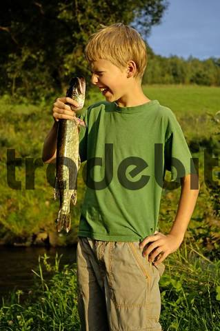 Boy, eleven-year-old, is holding a fish pike that he caught himself