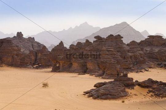 Rock formations in the Libyan Desert, Wadi Awis, Akakus Mountains, Libyan Desert, Libya, Africa