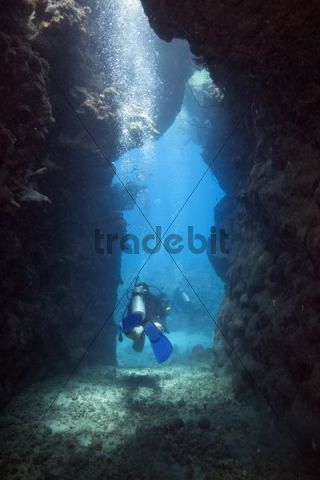 Scuba diver leaving a cave, Marsa Alam, Red Sea, Egypt, Africa