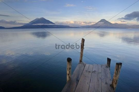 Lake Atitlan, volcanoes, Toliman volcano, Atitlan volcano, San Pedro volcano, volcanic lake, Guatemala, Central America