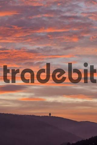 viewing tower Guglzipf and colourful clouds at sunset, St.Veit, Lower Austria, Austria