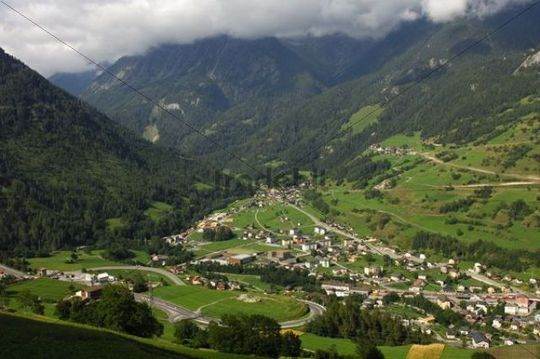 View over the town of Orsieres from the ascent to the Great St. Bernard Pass and the entrance to the Val Ferret valley, Valais, Switzerland, Europe