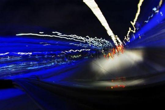 Dynamic driving through neon lights in the night, Blue Port 2010, art project by Michael Batz, Landungsbruecken landing bridges, Fischmarkt, Mitte, Hanseatic City of Hamburg, Germany, Europe