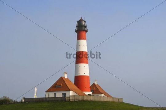 Lighthouse of Westerhever, St. Peter-Ording, Eiderstedt Peninsula, district of Nordfriesland, Schleswig-Holstein, Germany, Europe