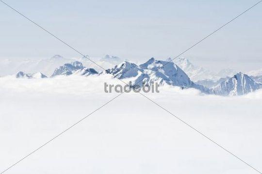 Panorama view from Mt. Schilthorn, Muerren, Canton Bern, Switzerland, Europe