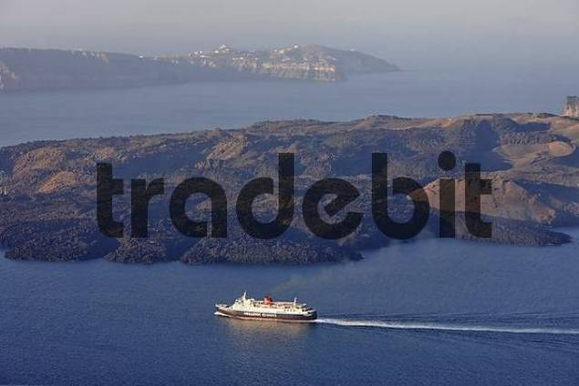 a ferry crosses the caldera of Santorin, Firostefani, Santorini, Greek