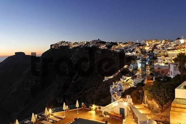 village of Firostefani at dawn, Firostefani, Santorini, Greece