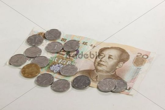 Renminbi coins and banknotes, official currency of the People´s Republic of China, Asia