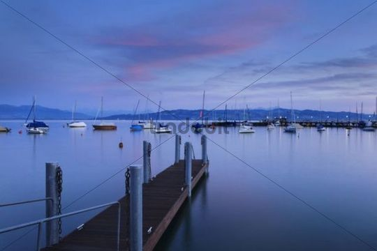 Harbour of Wasserburg at dusk, Lake Constance, Bavaria, Germany, Europe