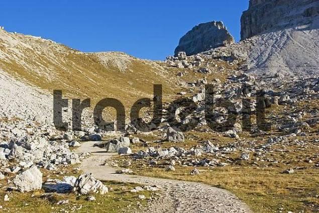 hiking trail around Tre Cime, Sexten Dolomite Alps, Italy
