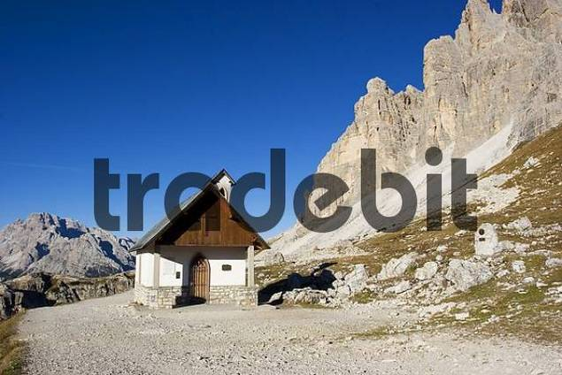 The Alpinis church at Tre Cime, Sexten Dolomite Alps, Italy