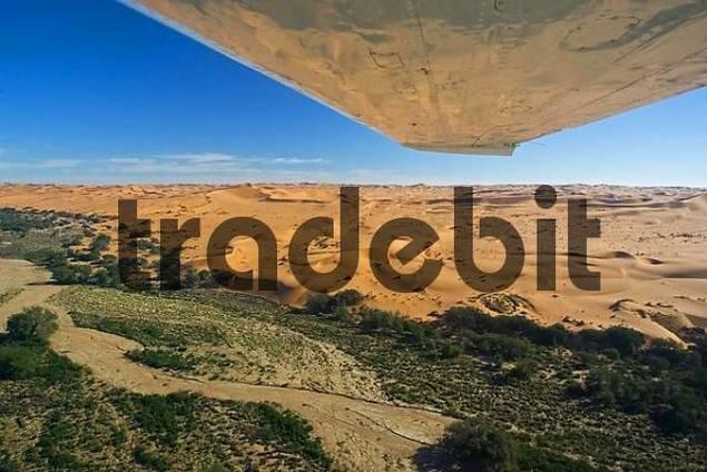 Fly over the dunes. Namib Desert, river Kuiseb, Namibia, Africa