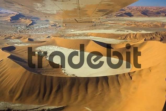 Fly over the dunes. Namib Desert, Deadvlei, Namibia, Africa