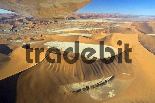 Fly over the dunes. Namib Desert, Deadvlei, Namibia. Africa