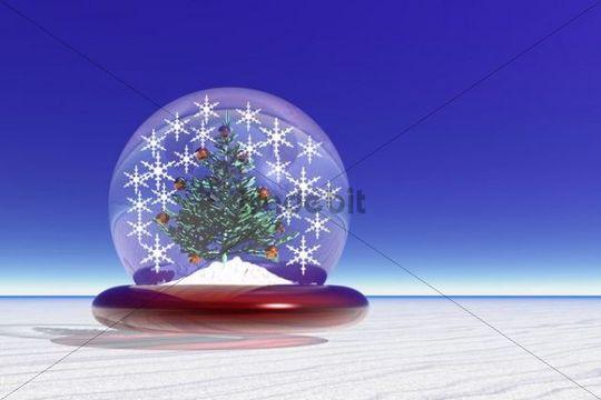 Snow globe, winter landscape, 3D computer graphics, Christmas theme